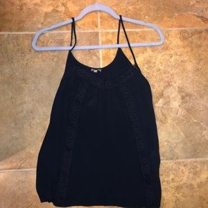 Charlotte Russe lace navy tank top